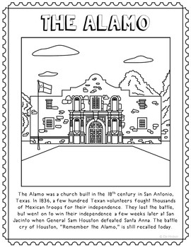 The Alamo Informational Text Coloring Page Craft or Poster