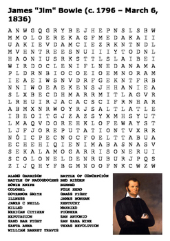 The Alamo - James Bowie Word Search
