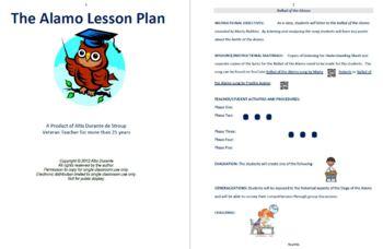 The Alamo Lesson Plan