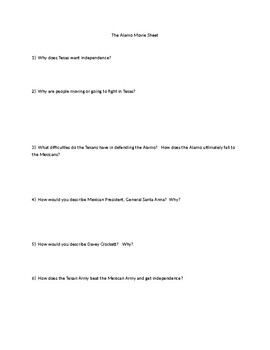 The Alamo Movie Question Sheet