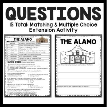 The Alamo Reading Comprehension; American Landmark; San Antonio; Texas