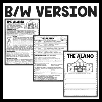 The Alamo in San Antonio Texas Reading Comprehension Worksheet