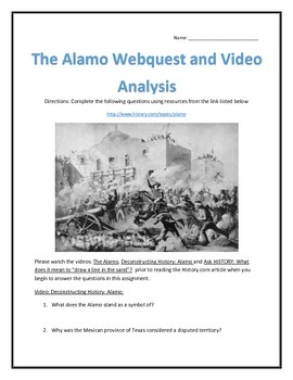 The Alamo- Webquest and Video Analysis with Key