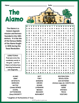 The Alamo Word Search Worksheet