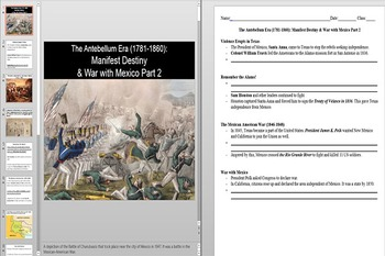 The Alamo and the Mexican-American War Powerpoint AND Notes Worksheet