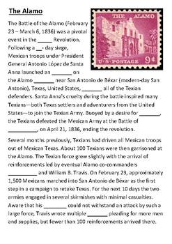 The Alamo Cloze Activity