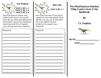 The Albertosaurus Mystery Trifold/ 3rd Grade Journeys HMH/ Common Core