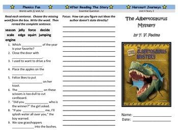 The Albertosaurus Mystery Trifold - Harcourt Journeys: Grade 3, Unit 4, Lesson 2