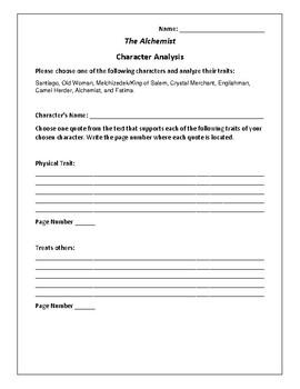 The Alchemist Character Analysis Activity - Paulo Coelho