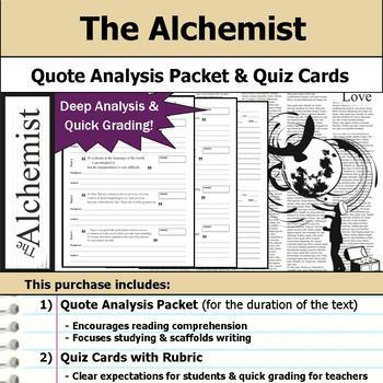 the alchemist quote analysis reading quizzes by s j brull tpt the alchemist quote analysis reading quizzes
