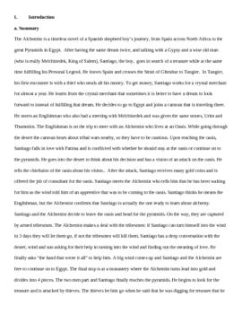 The Alchemist- Teacher guide basic intro to whole novel