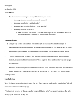 alchemist teacher guide section prologue pg summary the alchemist teacher guide section 1 prologue pg 3 11 summary
