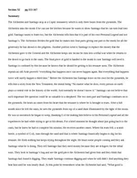 The Alchemist- Teacher guide section 11 pages 153-167summary