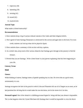 The Alchemist- Teacher guide section 4 (pg 33-47) summary