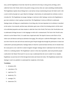 The Alchemist- Teacher guide section 6 pages 65-84 summary