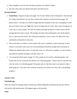 The Alchemist- Teacher guide section 9 pages 123 - 142 summary