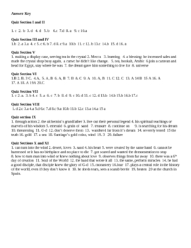 The Alchemist- student guide section quizzes