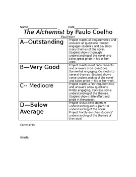 The Alchemist study guide/discussion questions and final projects