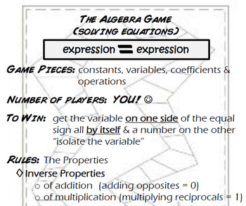 The Algebra Game - solving equations