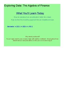 The Algebra of Finance SmartBoard Lesson