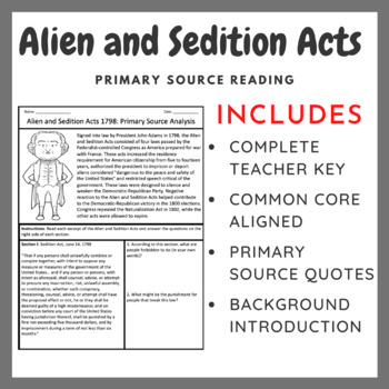 The Alien and Sedition Acts: Scaffolded Primary Source Analysis