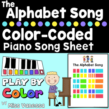 The Alphabet Song ~ Piano for Preschool Color-Coded Song Sheet