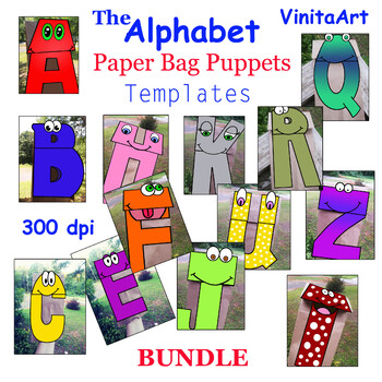 The Alphabet paper bag puppet templates BUNDLE 26 paper bag puppets!