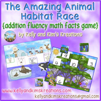 The Amazing Animal Habitat Race {addition fluency math facts game}