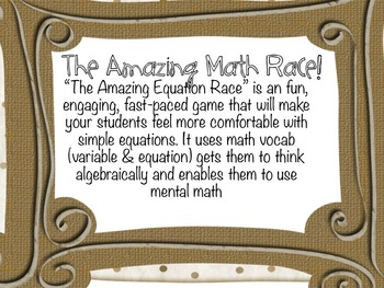 The Amazing Equation Race