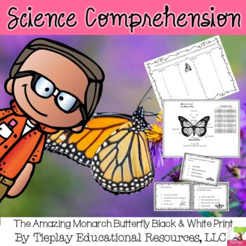 The Amazing Monarch Butterfly in black and white print Passages and Questions