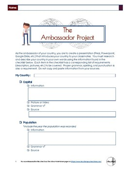 The Ambassador Project (Country Research Project)