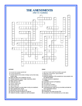 the amendments to the constitution crossword puzzle by the lit guy. Black Bedroom Furniture Sets. Home Design Ideas
