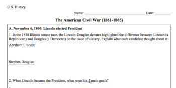 The American Civil War (Readings + Graphic Organizer)