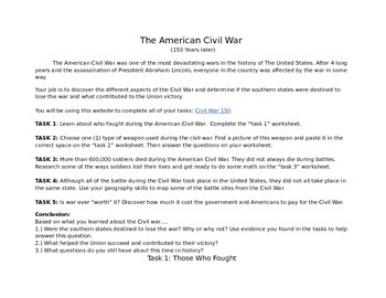 The American Civil War Webquest