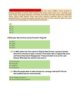 The American Colonies Quiz for 4th Grade