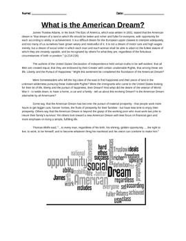 The American Dream Activity