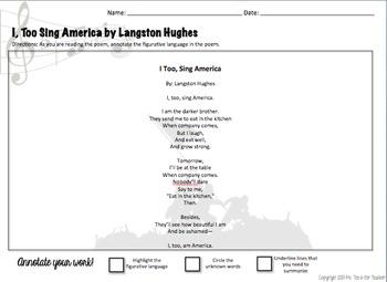 "The American Dream- Langston Hughes ""I Too Sing America"" and Walt Whitman"