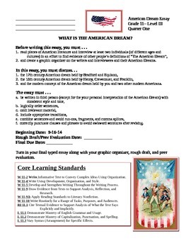 The American Dream - Literature Analysis and Essay Assignment  w/Core Standards