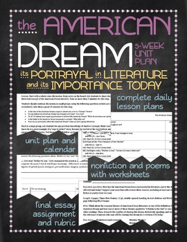 The American Dream in literature and today unit plan