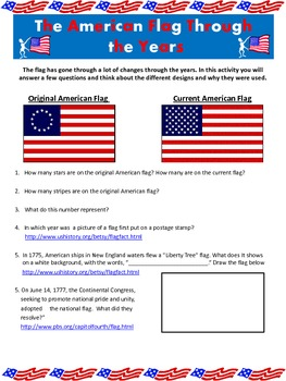 American Flag WebQuest and Flag Designing Activity