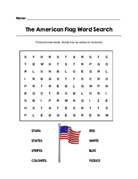 The American Flag Word Search Color/B&W (Grades K-2)