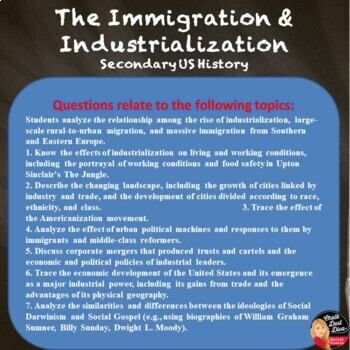 The American Industrial Revolution & Immigration TEST & REVIEW