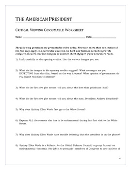 The American President -- Critical Viewing Questions Worksheet PDF Version