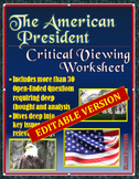 The American President (movie) -- Critical Viewing Questions Worksheet