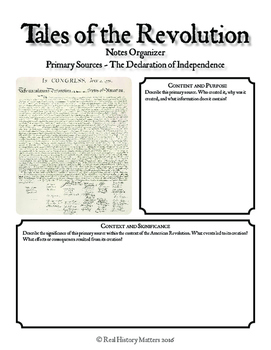 The American Revolution - 5 Primary Source Graphic Organizers