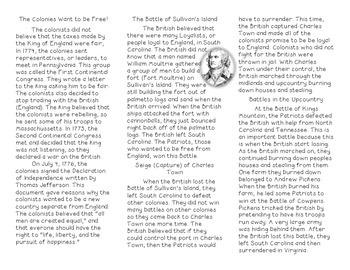 The American Revolution- Battles in SC Brochure