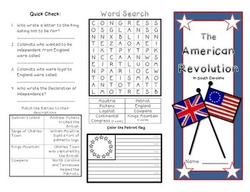 The American Revolution- Battles in SC Brochure