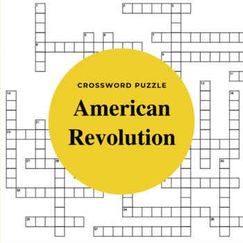 The American Revolution Crossword Puzzle