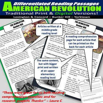 The American Revolution Differentiated Reading Passages