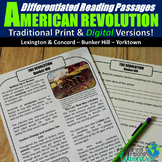 The American Revolution Differentiated Reading Passages (P